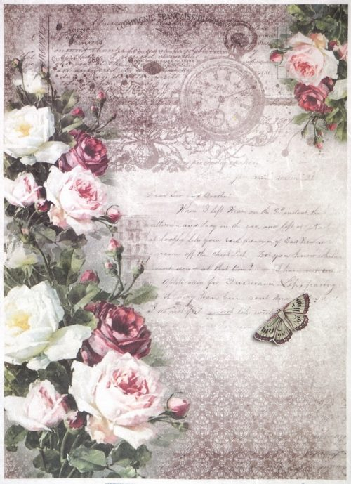 Rice Paper A/3 - Vintage Roses Stamp
