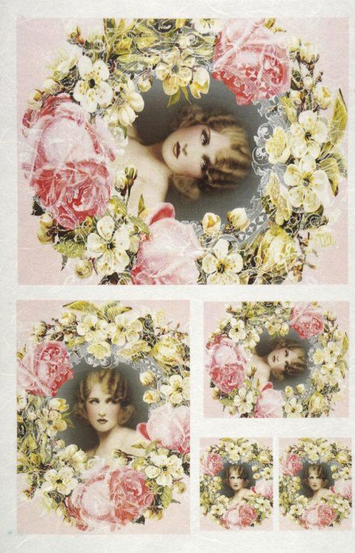 Rice Paper - White flowers frame