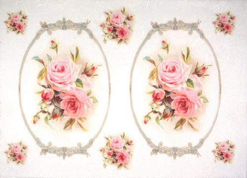 Rice Paper - Roses bouquets in frames