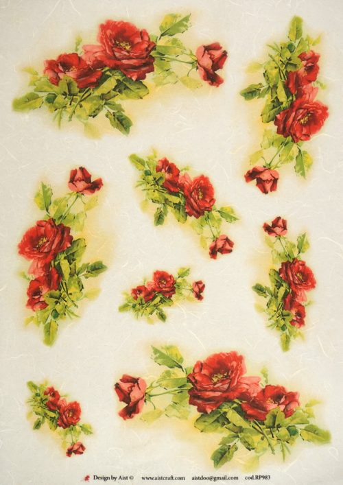 Rice Paper - Red roses