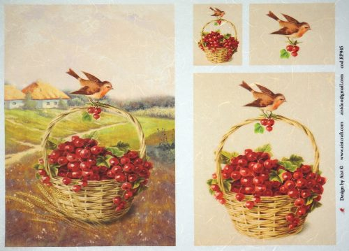 Rice Paper - Birds in basket