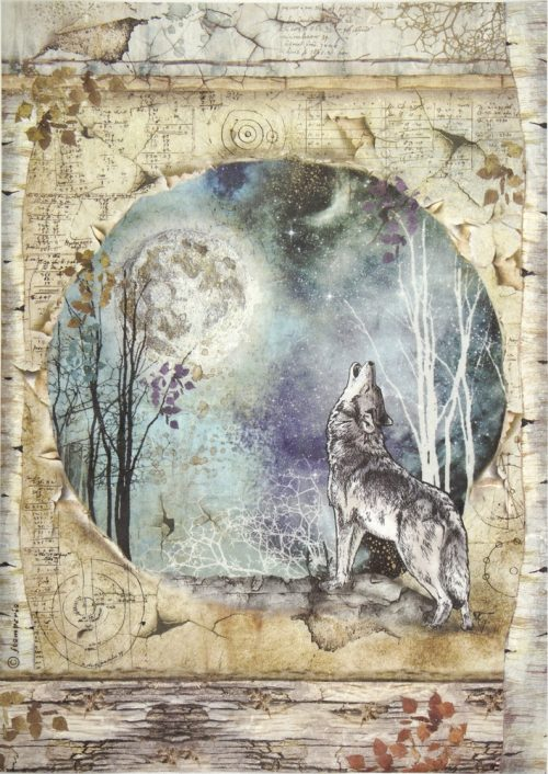Rice Paper - Cosmos Wolf and Moon