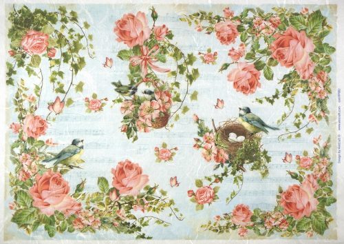 Rice Paper - Pink Roses, Blue Birds