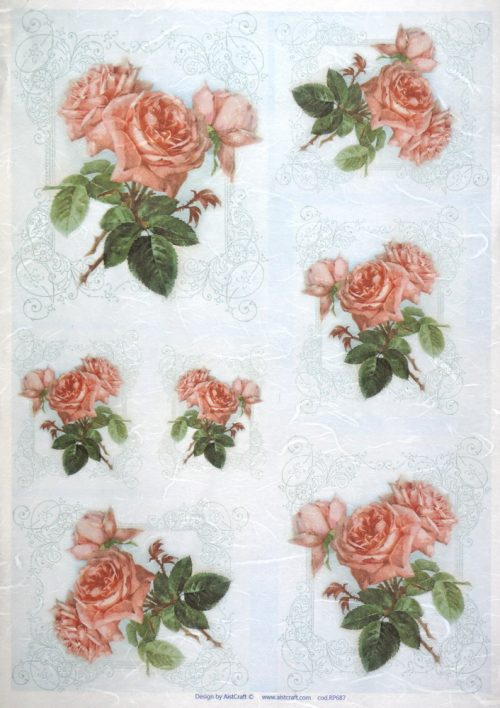 Rice Paper - Pink Rose on Blue