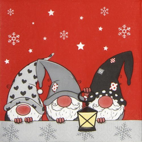 Paper Napkin - Three Tomte red