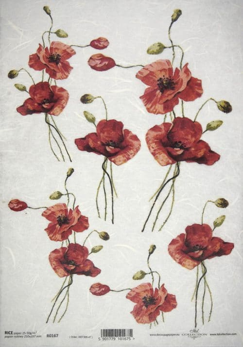 Rice Paper - Poppies