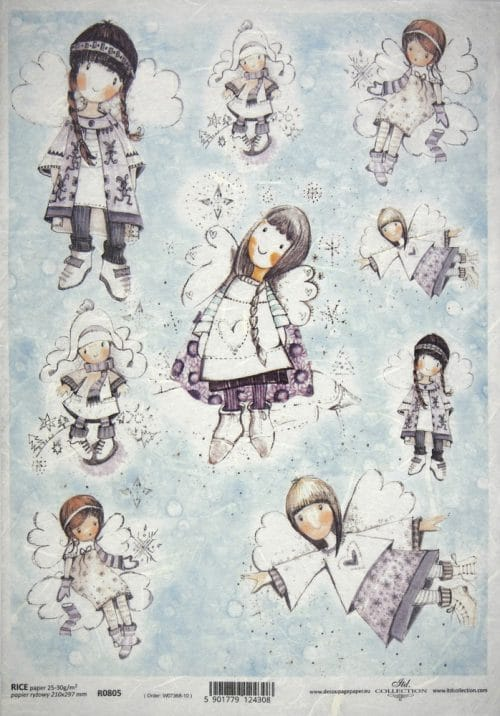 Rice Paper for Decoupage - Purple Winter Angels