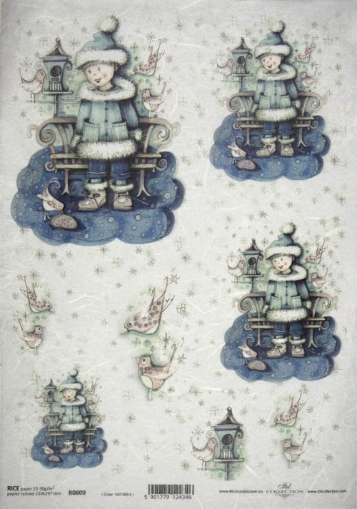 Rice Paper - Blue Winter Angels