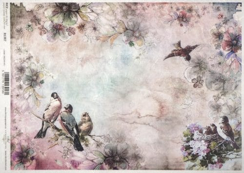 Rice Paper A/3 - Pink birds