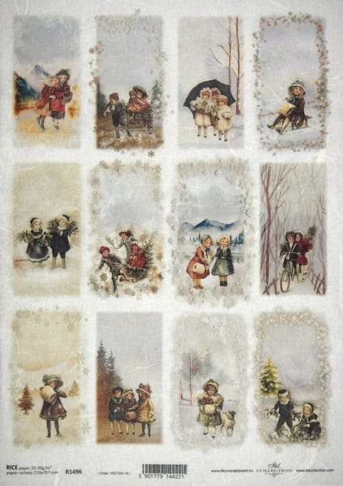 Rice Paper - Christmas playing children tags