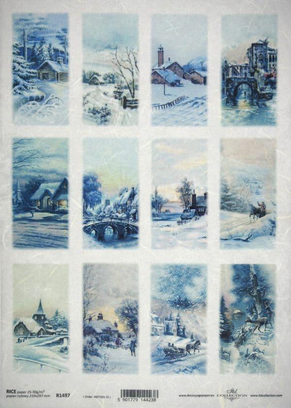 Rice Paper - Winter landscape tags blue