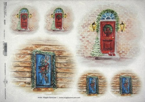 Rice Paper - Christmas blue red doors
