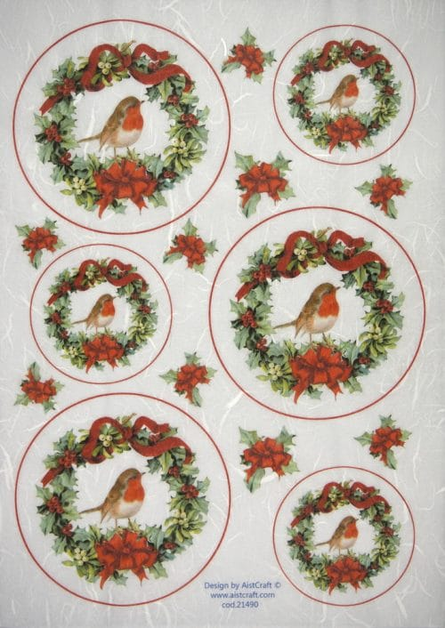 Rice Paper - Poinsettia with birds wreath