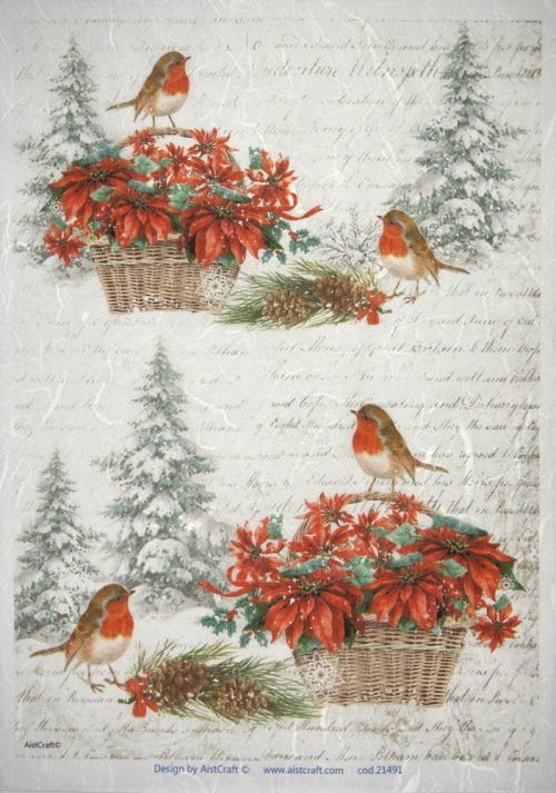 Rice Paper - Poinsettia with birds
