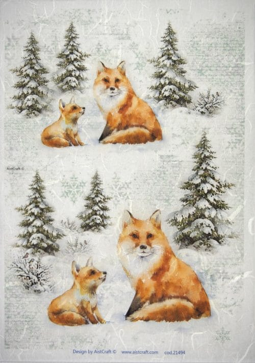 Rice Paper - Winter Forest with  Foxes