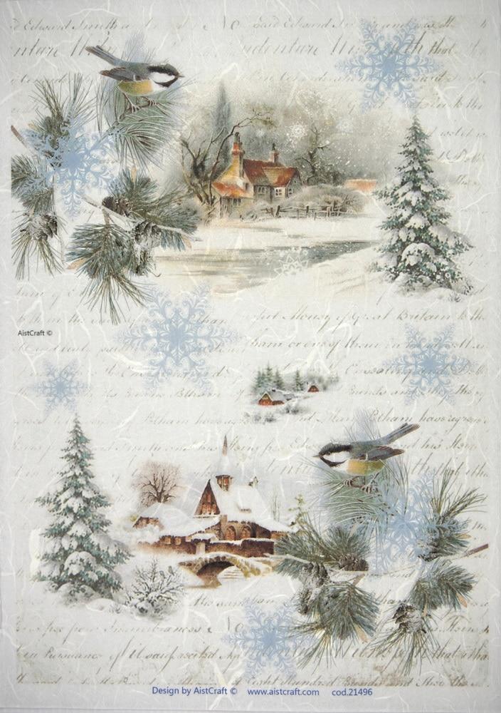 Rice Paper - Winter Village with Birds