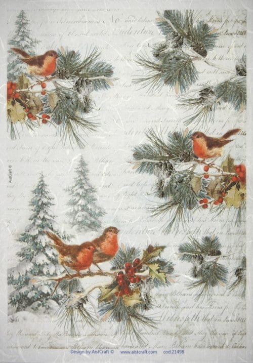 Rice Paper - Winter Birds