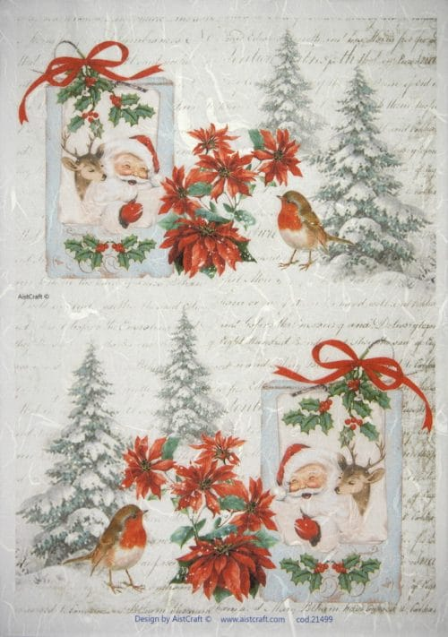 Rice Paper - Winter Birds with Santa