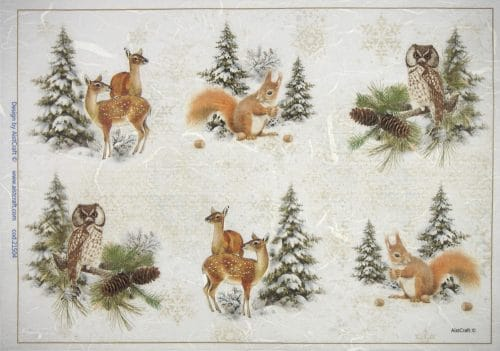 Rice Paper - Winter Forest with Animals