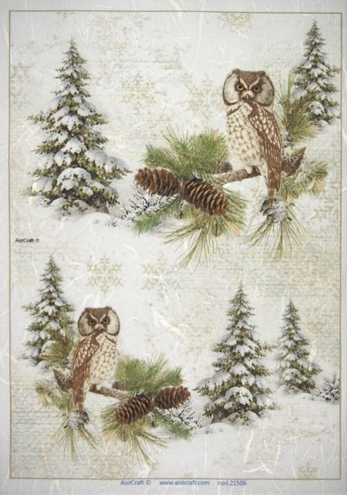 Rice Paper - Winter Forest with Owls