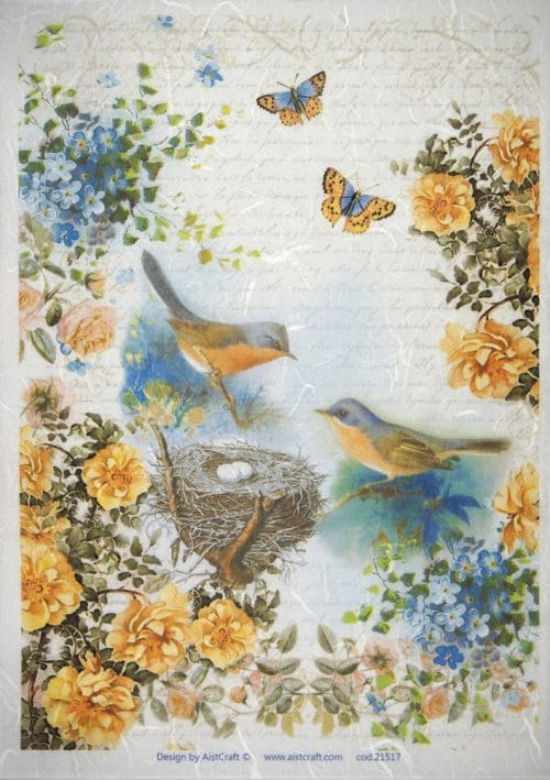 Rice Paper - Orange birds world