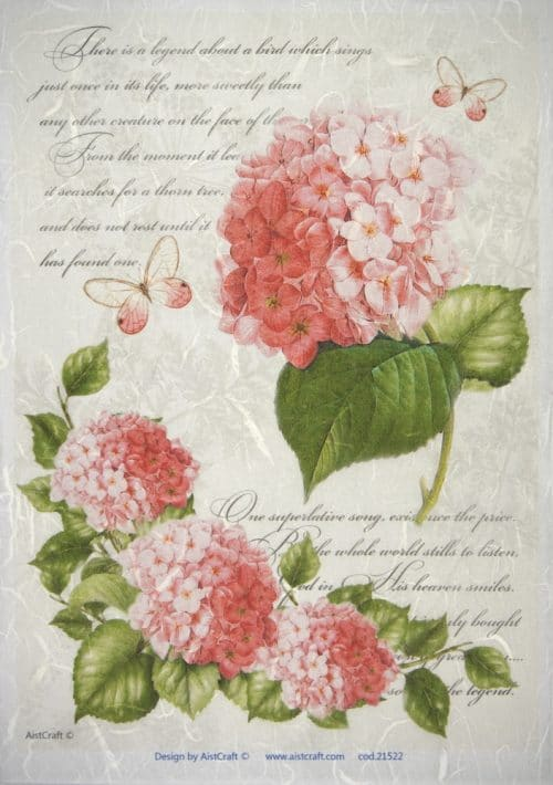 Rice Paper - Red Hydrangea