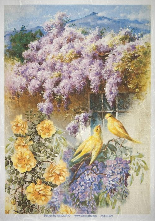 Rice Paper - Purple garden with yellow birds