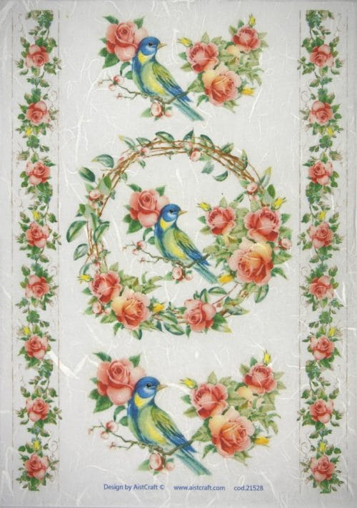 Rice Paper - Red roses, blue birds