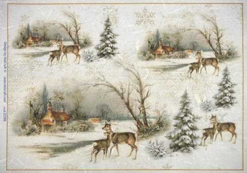 Rice Paper - Winter Village with Deer
