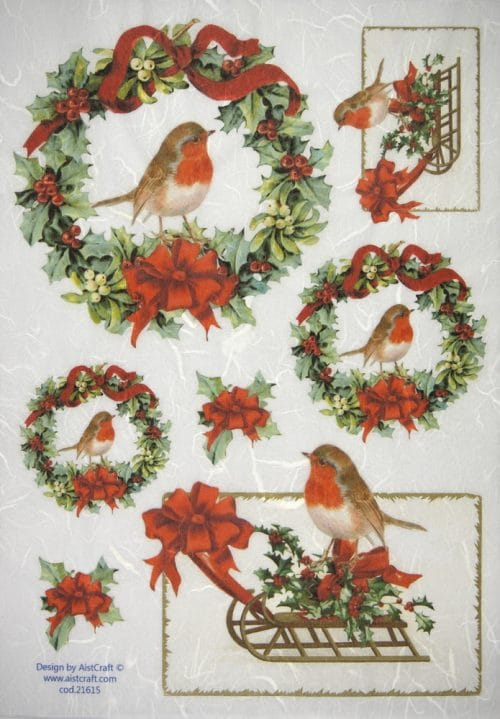 Rice Paper - Christmas Wreath with Birds