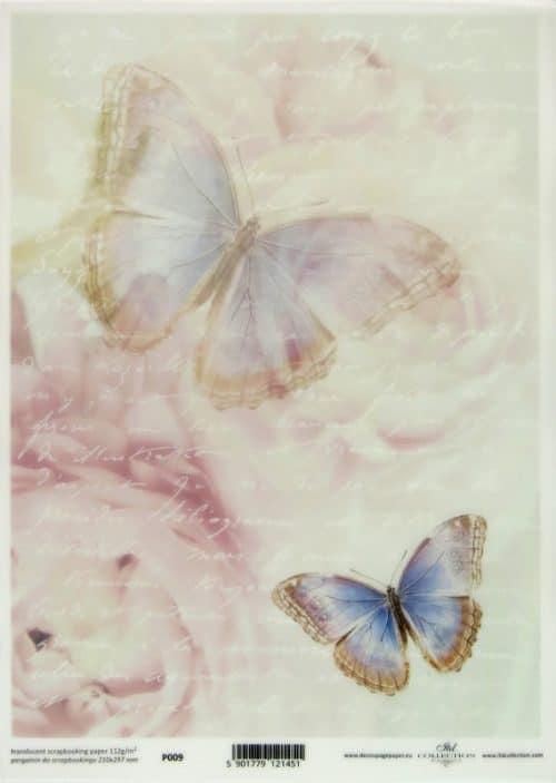 Translucent/Vellum Paper - Blue Butterflies