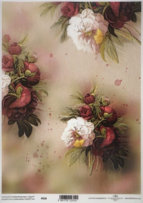 Translucent/Vellum Paper - Red flowers