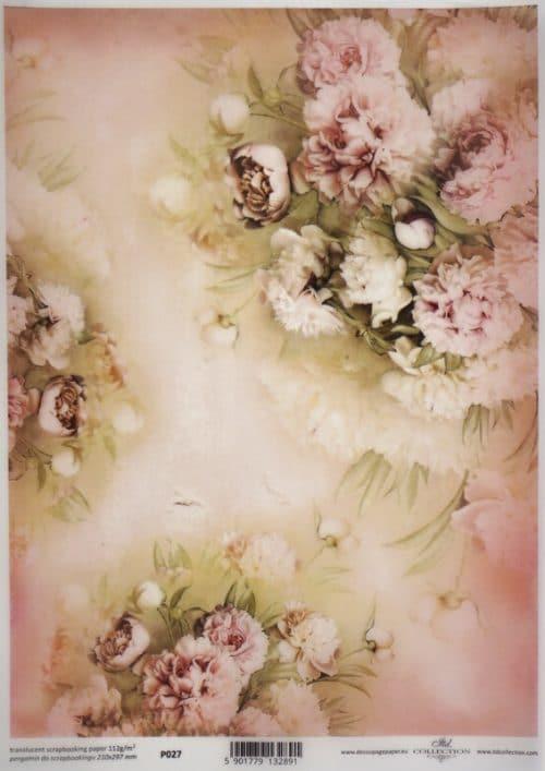 Translucent/Vellum Paper - Pink flowers