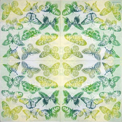 Paper Napkin - Aquarell Butterflies green