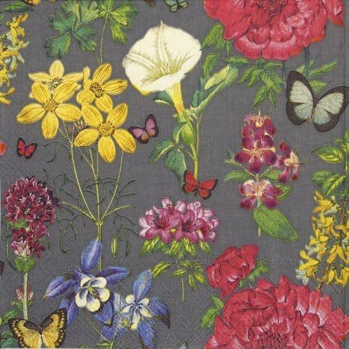 Lunch Napkins (20) - Botanical floral grey