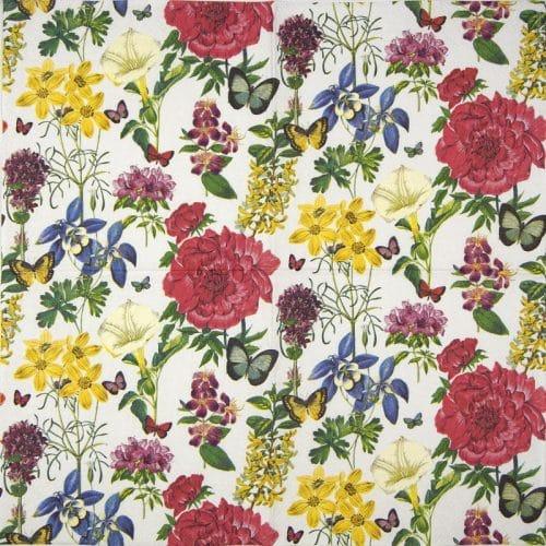 Paper Napkin - Botanical floral white