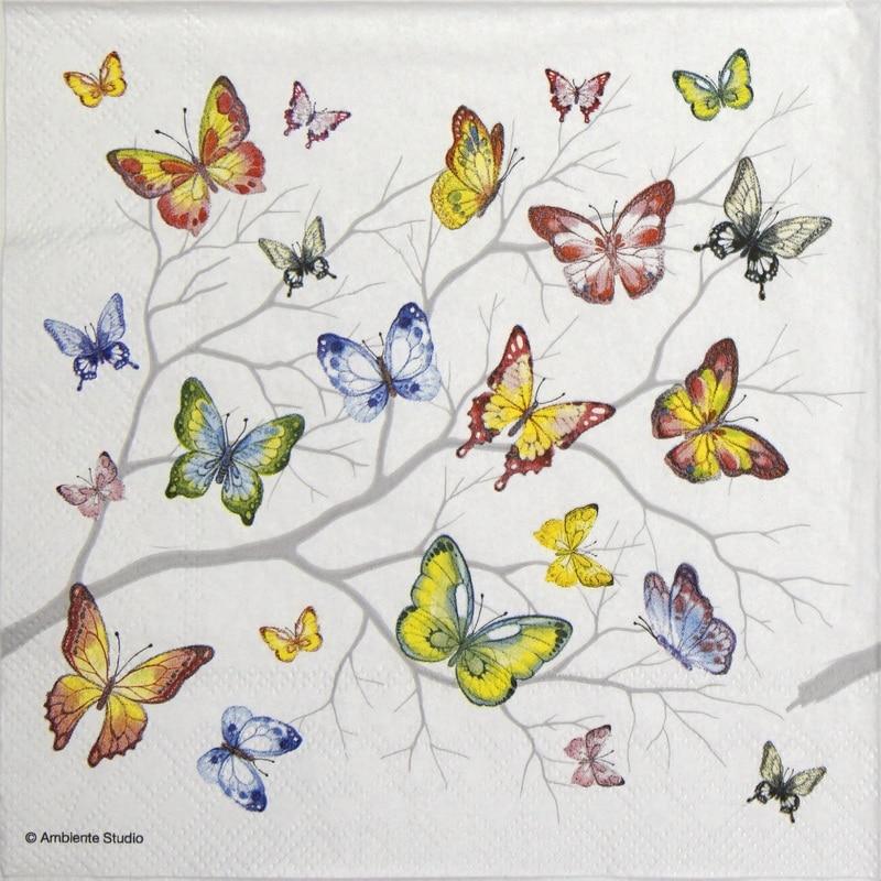 Paper Napkin - Colorful butterflies