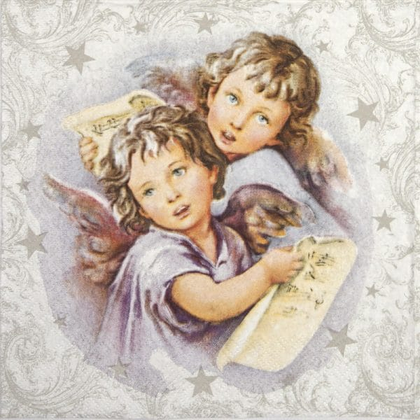 Paper Napkin - Two Christmas angels