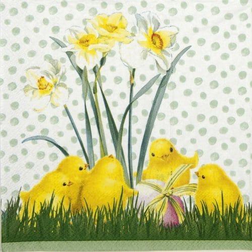 Paper Napkin - Chicken in the spring green