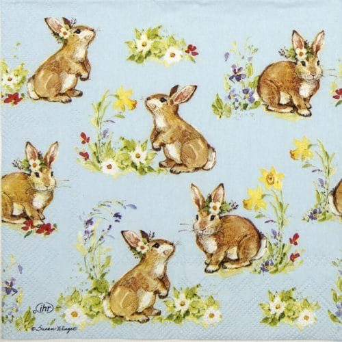 Paper Napkin - Sweet Lowely Bunnies blue