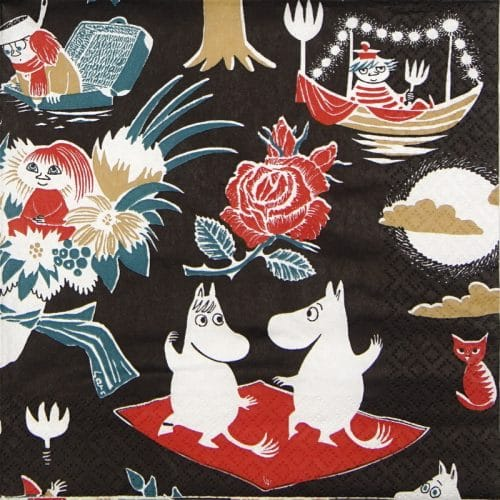 Paper Napkin -  Moomin Magic black