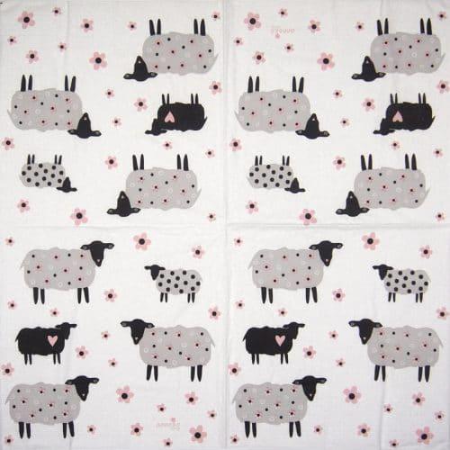 Lunch Napkins (20) - Anneko Design: Flower Sheeps