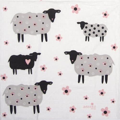 Paper Napkin - Anneko Design: Flower Sheeps