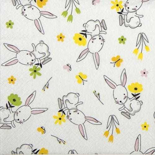 Paper Napkin - Rabbit in flowers