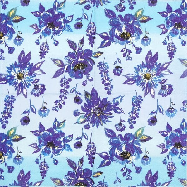 Paper Napkin - Lauren Flower Blue