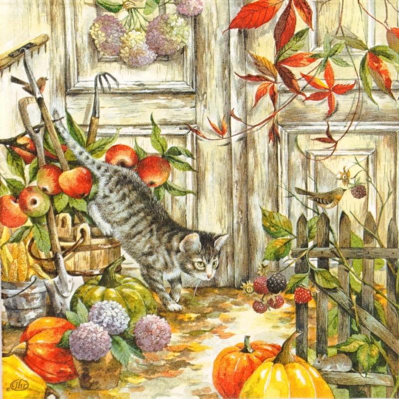 Paper Napkin - Hunting Cat