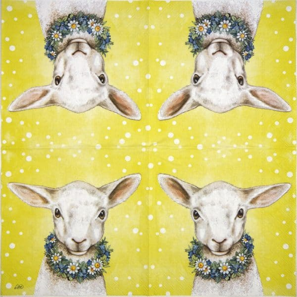 Lunch Napkins (20) - Easterfriends lamb yellow
