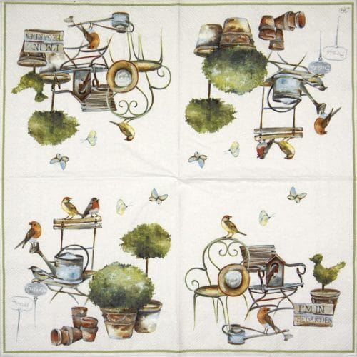 Lunch Napkins (20) -  I'm in the garden white