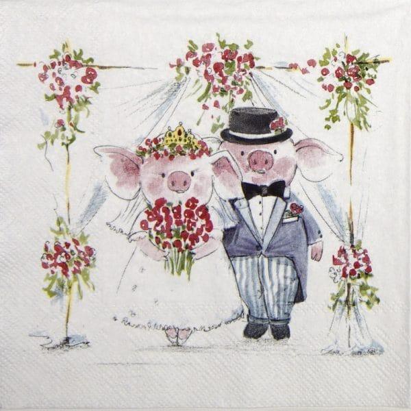 Paper Napkin - Piggy Wedding
