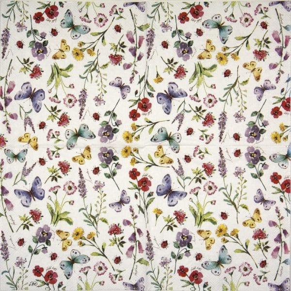 Cocktail Napkins (20) - Summer Flowers white